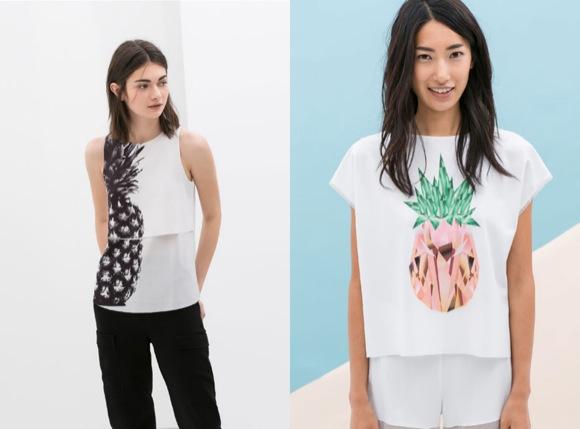 Camisetas piñas Zara