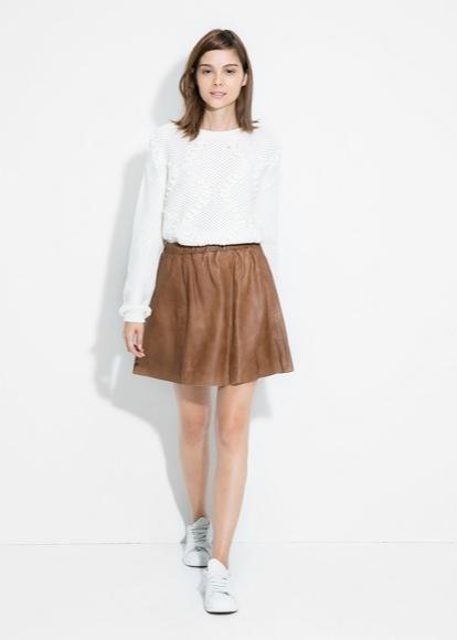 Falda de piel MANGO