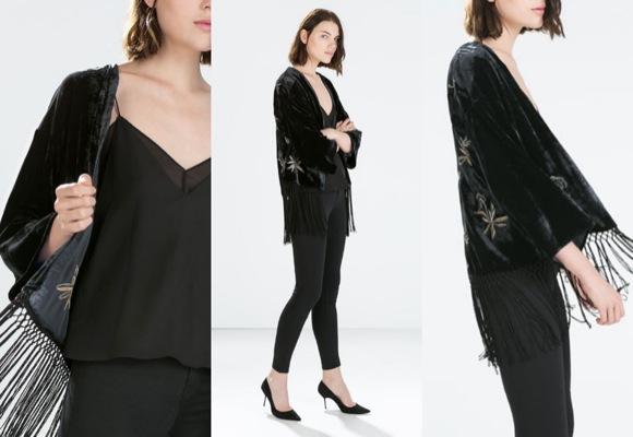 kimono flecos Zara fiesta