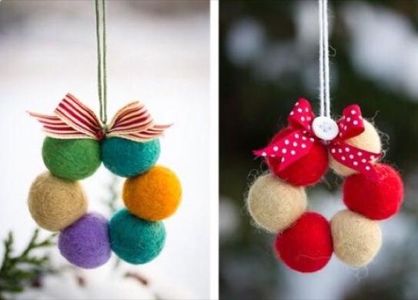 bolas fieltro decorar navidad