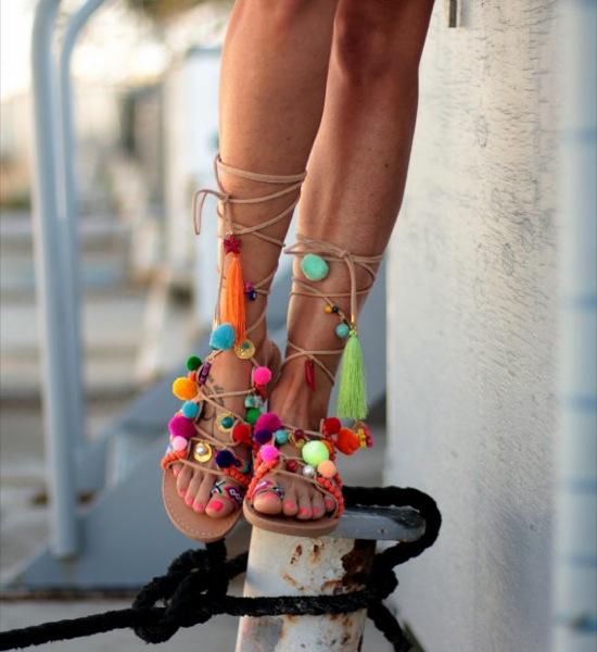 dimitras sandals pompom