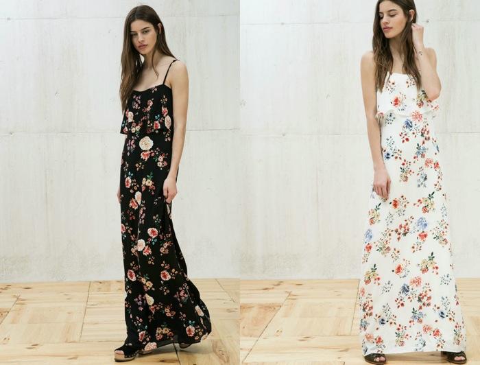 Vestido largo flores bershka