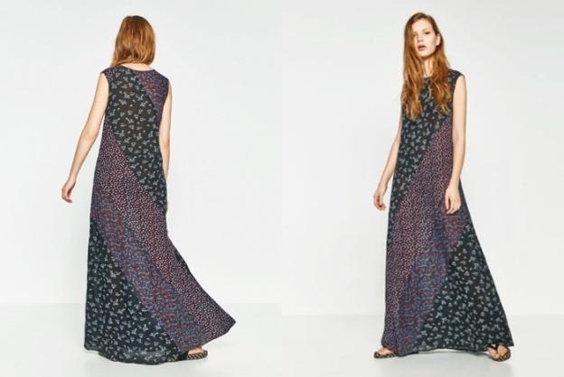 zara patchwork vestido largo