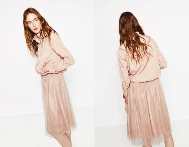 falda tul zara rosa