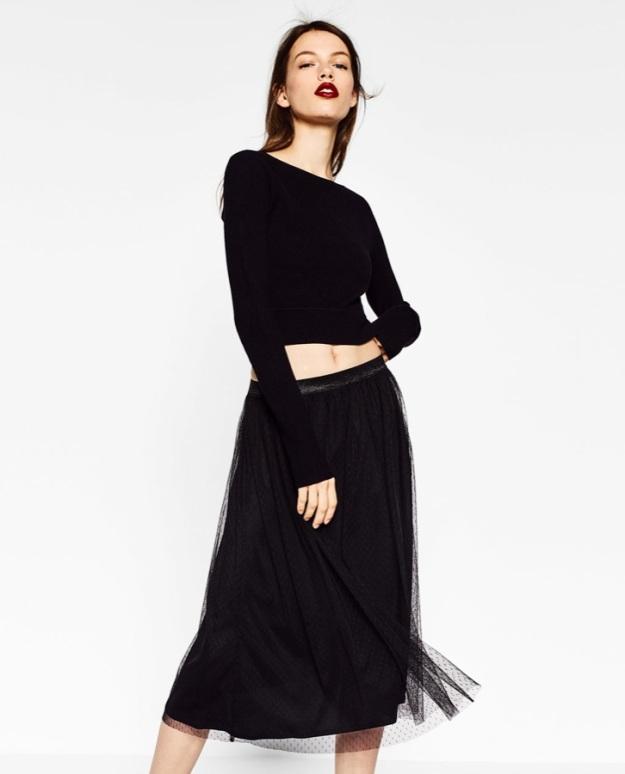 falda tul zara topos negros