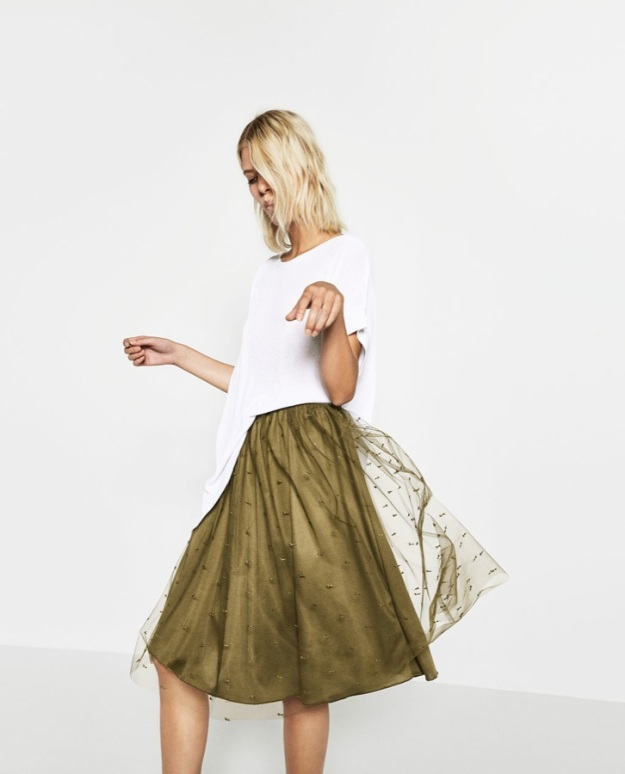 falda tul zara verde