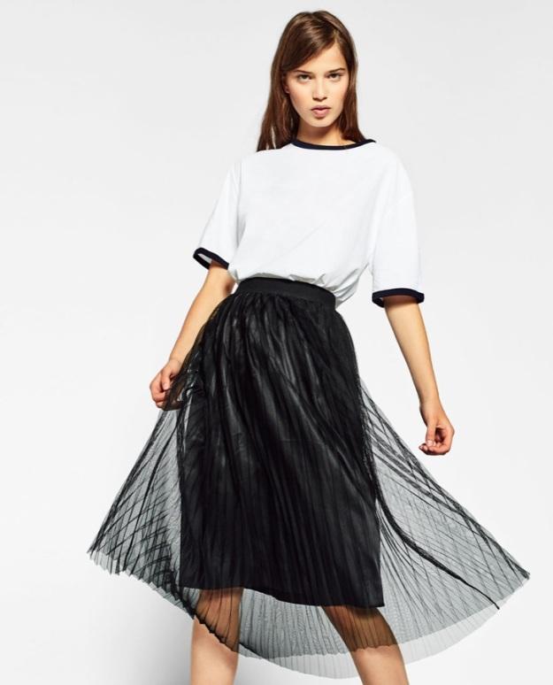 falda zara tul negro plisado