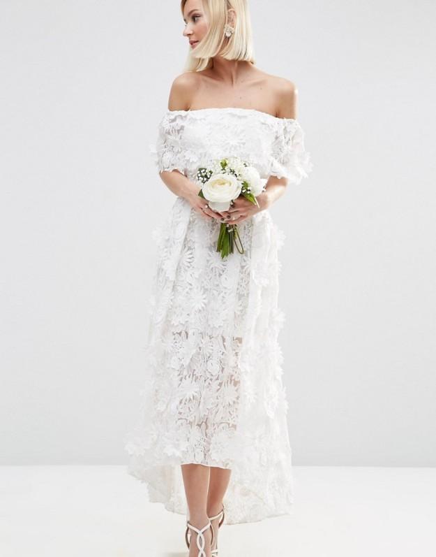 vestido blanco flores 3D
