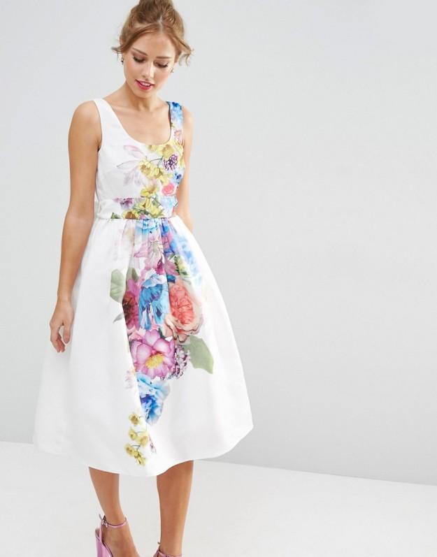 vestido blanco flores corto boda