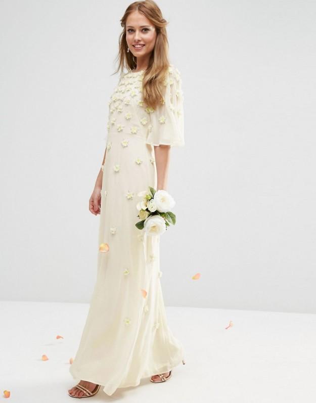 vestido novia flores