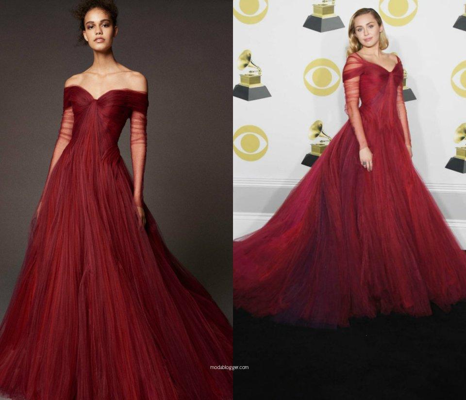 Miley Cyrus Grammy 2018 red dress