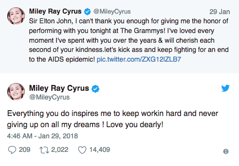 tweet miley cyrus
