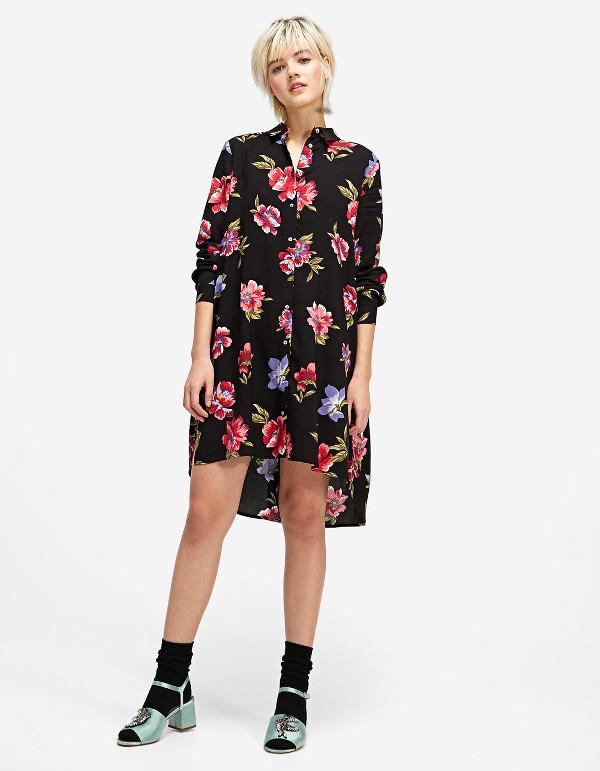 vestido camisero flores