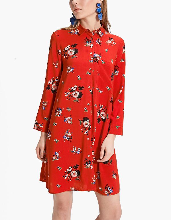 vestido flores camisero stradivarius