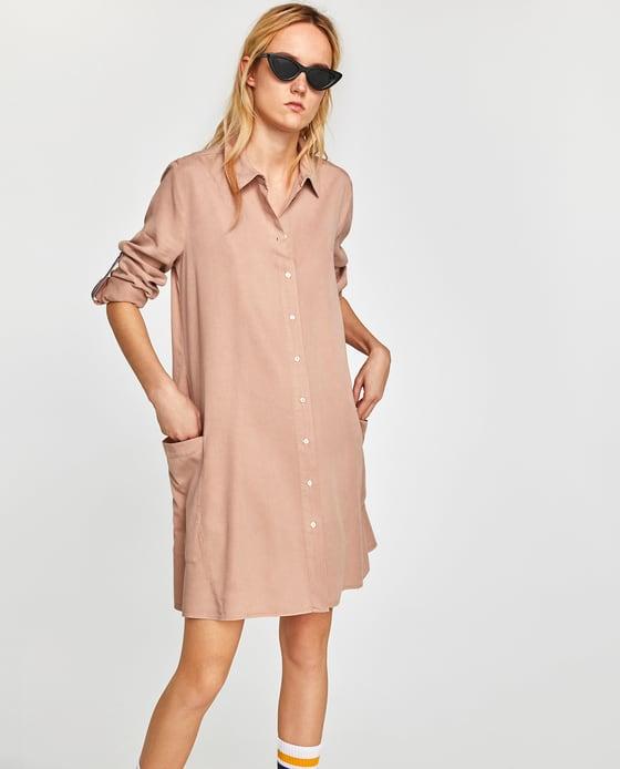 vestido zara camisero liso