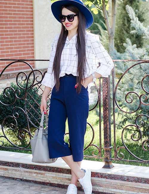 culotte azul y camisa